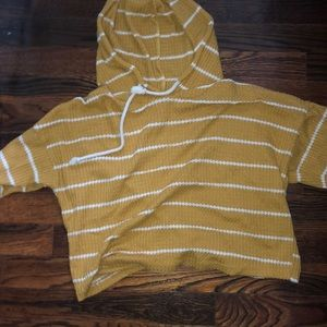 Caution to the wind yellow cropped hooded shirt